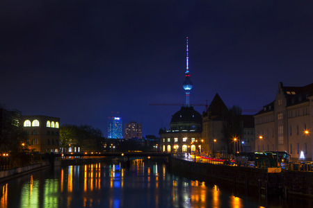 night view of Berlin and Spree river