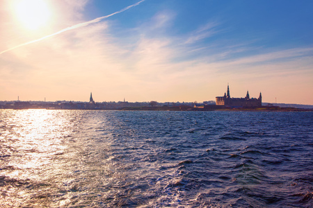 view of Helsingor coast with Kronborg castle