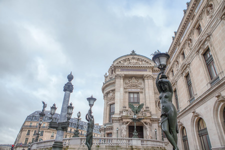 Bronze lamp post near Opera Garnier in Paris