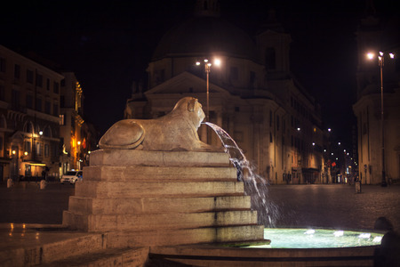 night view of Lion fountain in Piazza del Popolo from Rome Reklamní fotografie