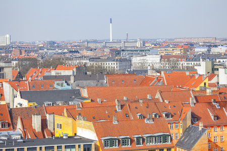 red tiled roofs of Copenhagen Banco de Imagens