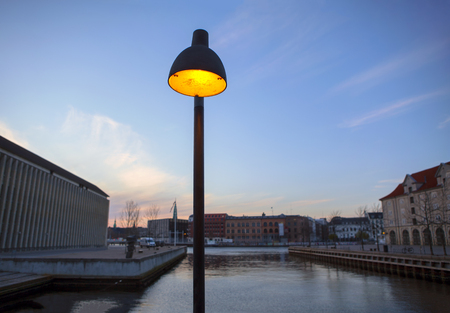street lamp on the canal shore in Copenhagen