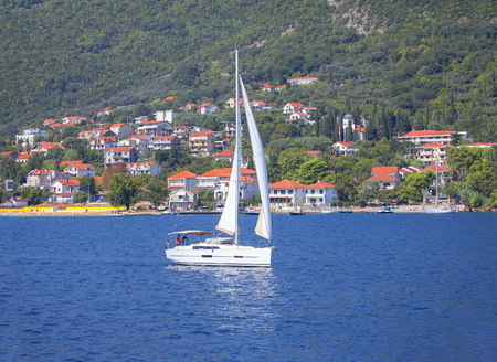 Sailing yacht in the bay
