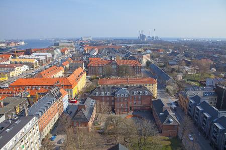 Copenhagen street aerial view of the city