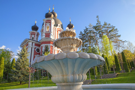 Famous Monastery Curchi from Moldova , fountains details