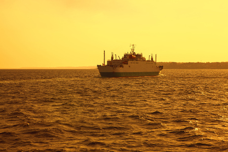 Ferry boat crossing the North Sea channel from Denmark to Sweden Stock Photo - 124902873