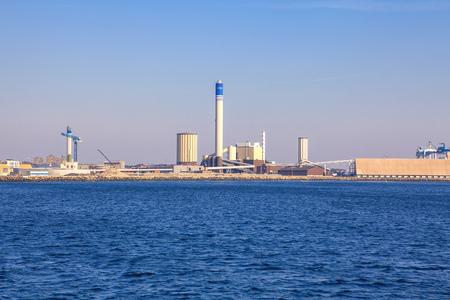 Industrial harbor Helsingborg town from Sweden Reklamní fotografie