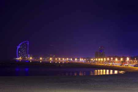 Barceloneta beach in the night