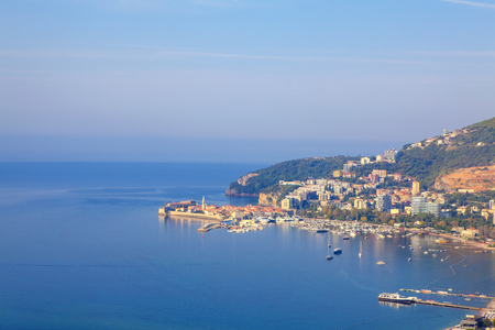 Aerial view of Budva Town and Adriatic Sea in Montenegro Reklamní fotografie