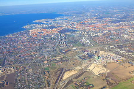 flying over the Malmo City , Sweden