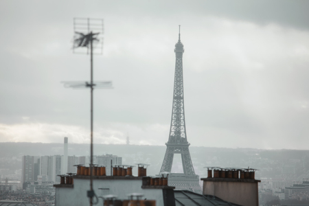 Eiffel Tower and antenna view in Paris