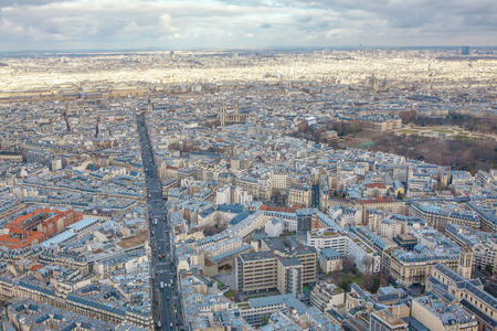 Paris aerial cityscape , aerial panorama of the city