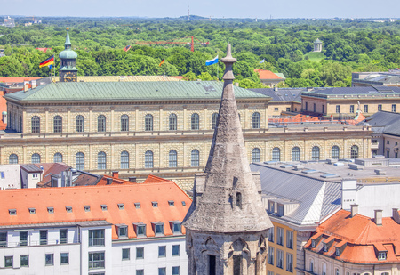 Munich city aerial view of roofs Stok Fotoğraf