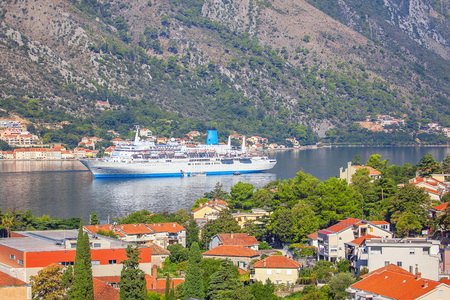 Large cruise liner in Kotor Bay