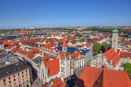 Beautiful aerial view of architecture in Munich Stok Fotoğraf - 124903311