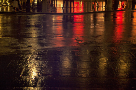 reflection of night street after the rain