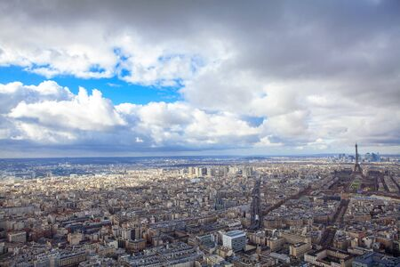 panoramic view and clouds over Paris