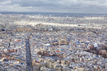 Aerial view of the streets of Paris downtown Stock Photo