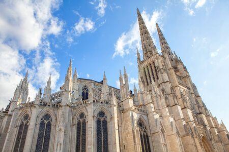 Cathedrale Saint-Andre de Bordeaux against blue sky
