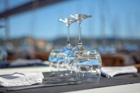 empty glasses on the table in restaurant