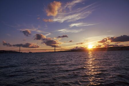 evening in portugal , sunset over Lisbon
