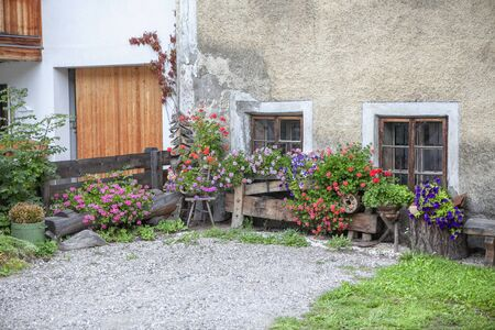 rustic yard with flower pots