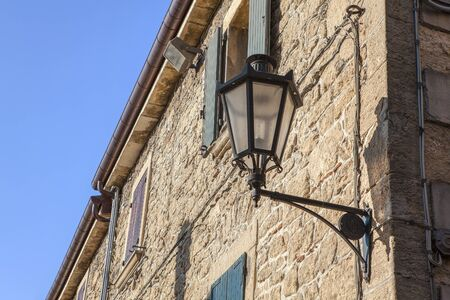 medieval street lamp in old town