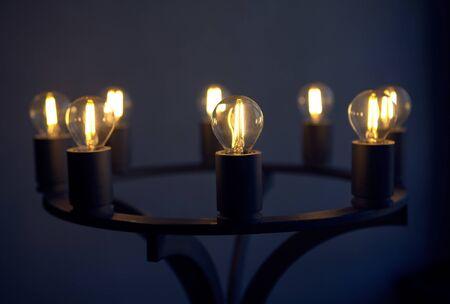 lamp candlestick on dark blue background Banque d'images - 128617759