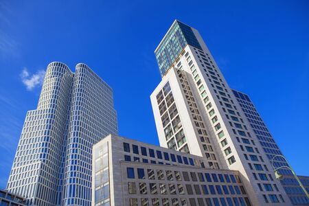 Modern skyscrapers as residential apartment house and office building architecture in Berlin