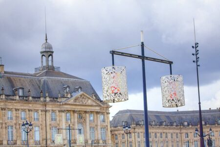 colorful street lamps in Bordeaux downtown