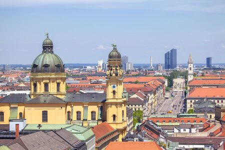 view of Theatine Church and Odeonsplatz in Munich