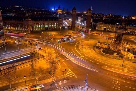 Plaza de Espana Barcelona , illuminated streets view