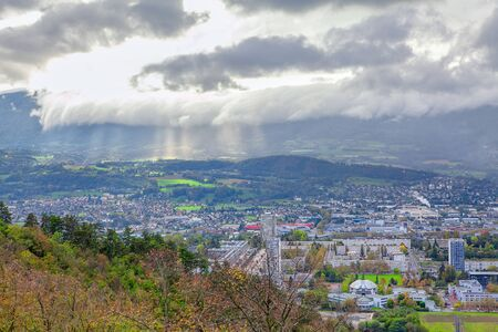 Panoramic view of Chambery Alpine town , France