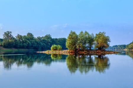 green island in blue water