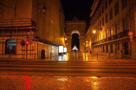 View on the central streets of Lisbon at night