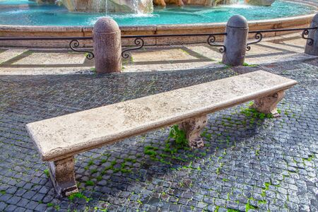 marble bench in old town