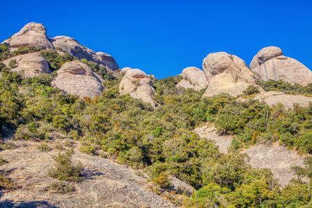 scenery with shaped mountain rocks of Montserrat 版權商用圖片