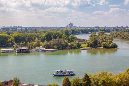 Danube and Sava river in Belgrade 版權商用圖片