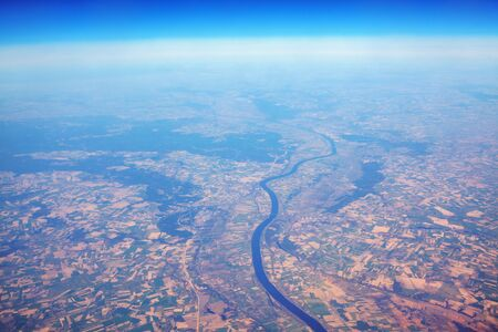 aerial view of river meander and fields 版權商用圖片