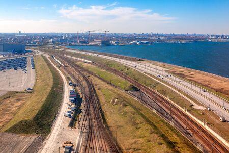 Aerial view of railroad and airport in Copenhagen , Denmark 写真素材