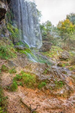 natural waterfall in Creissels near Millau , France