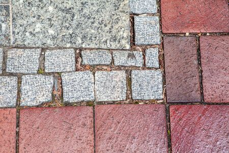 close up image with bricks of pavement background