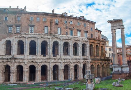 Ancient architecture of famous Marcello Theater in Rome Stock Photo