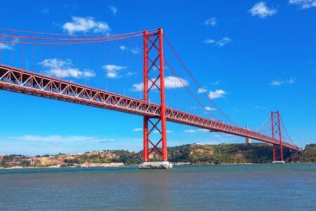 famous hanging bridge in Lisbon , Portugal 写真素材