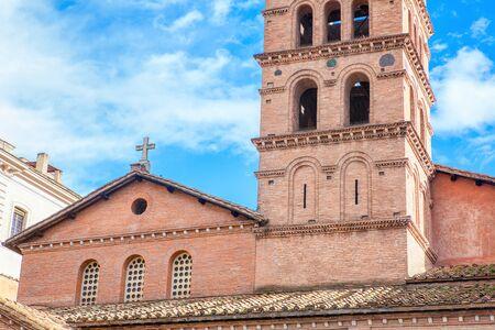red bricks medieval church in Rome