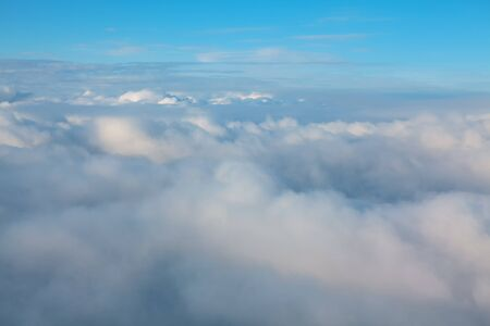 view of the of the cumulus clouds from the airplane window Imagens
