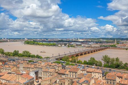 Panoramic view of Garonne river in Bordeaux Stock Photo
