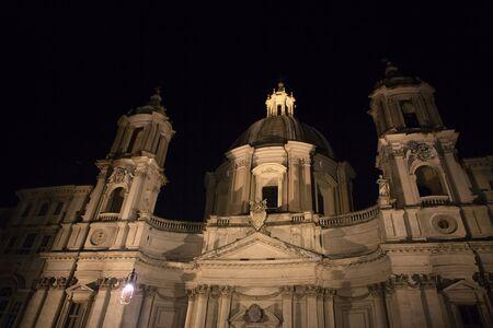 night view of catholic church in Rome