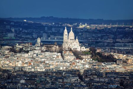 panorama of Paris with Montmartre church