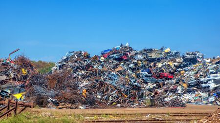 pile of scrap metal at the metallurgical plant
